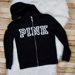 PINK Zip Up Hoodie Size S Black with White